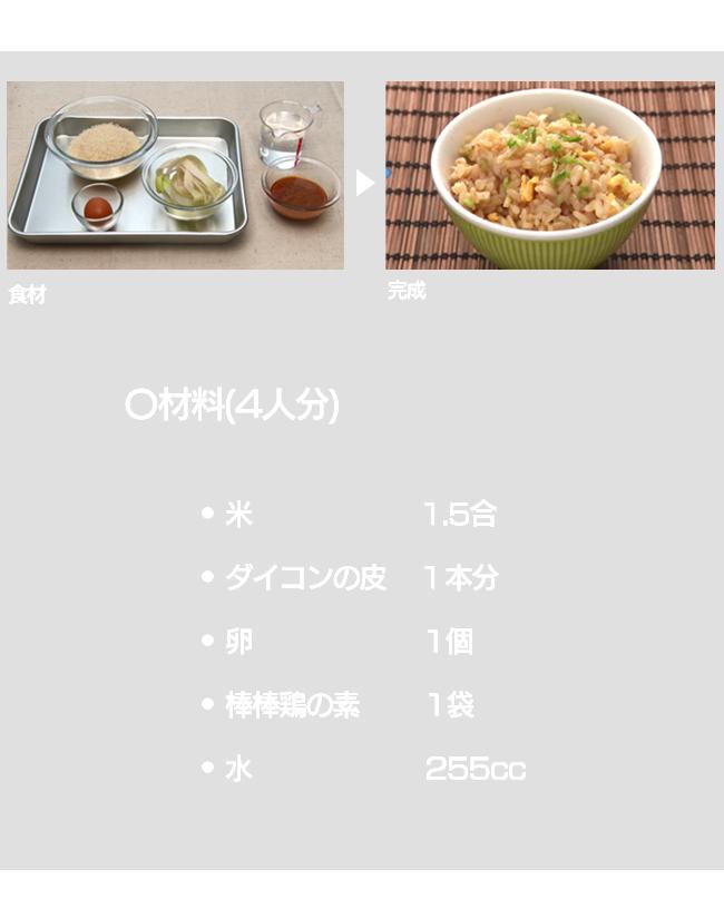 イコンの皮 + 棒棒鶏の素で炊き込みご飯